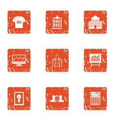 Ad placement icons set grunge style vector
