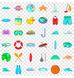 Aqualung icons set cartoon style vector