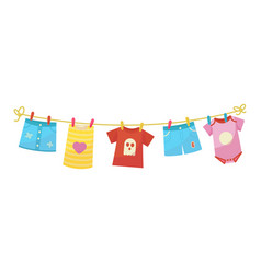 Baby clothes bright kid textile after laundry vector
