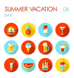 bar beach flat icon set summer vacation vector image