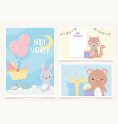 bashower cute little animals greeting cards vector image