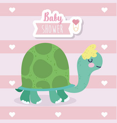 bashower cute turtle animal cartoon vector image