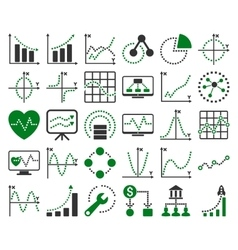 Business charts with square dots icons vector