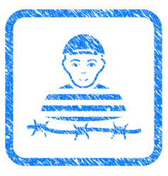 camp prisoner framed stamp vector image