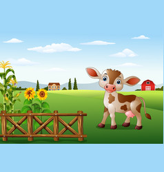 cartoon cow with farm landscape vector image