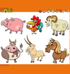 cartoon farm animal characters collection vector image