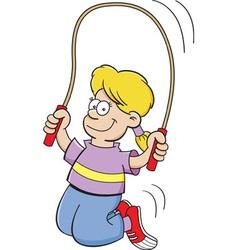 Cartoon girl jumping rope vector image