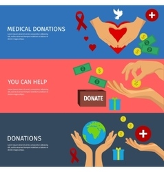 Charity Flat Banner Set vector image