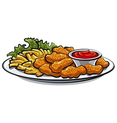 chicken fried nuggets vector image