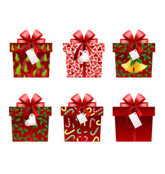 christmas gift icons vector image