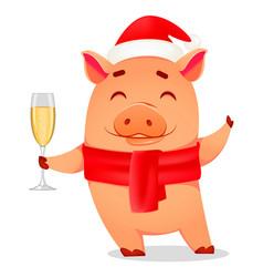 Christmas greeting card cute pig vector