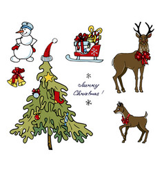 christmas set on a white background vector image