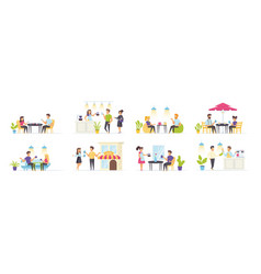 coffee house set with people characters vector image