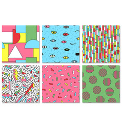 Collection of colorful seamless memphis pattern vector