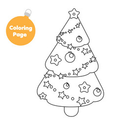 coloring page new year christmas spruce tree vector image
