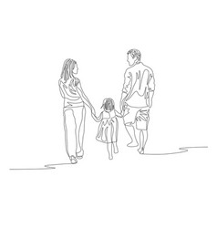Continuous line family walking together and vector