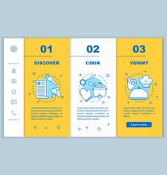 Cooking food onboarding mobile web pages template vector