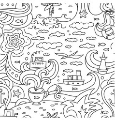 Crazy seamless pattern with sea elements vector