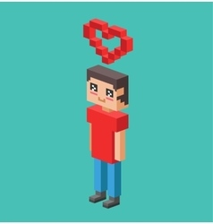 Cute cartoon boy with heart vector image