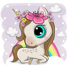 cute cartoon unicorn on clouds vector image