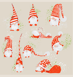 Cute funny christmas characters - white bearded vector
