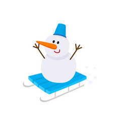 Cute funny snowman riding sled sleigh toboggan vector