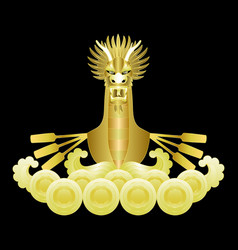 dragon boat golden print vector image