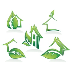 Eco homes and ecological property vector