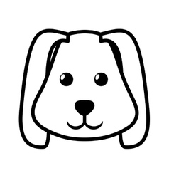 Face dog animal pet ear long outline vector