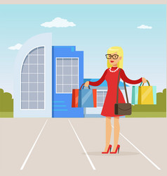 fashionable blonde girl standing in front of vector image