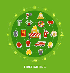 firefighting flat concept vector image