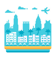 flat design miami beach vector image