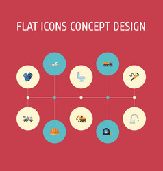 Flat icons mitten cement blender pneumatic and vector