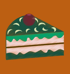 Flat shading style icon berry cake vector