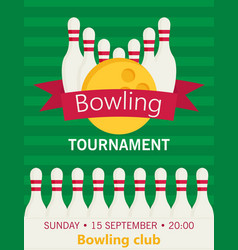 Flat style poster template for bowling tournament vector