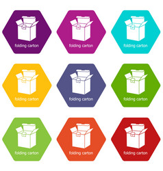 folding carton icons set 9 vector image
