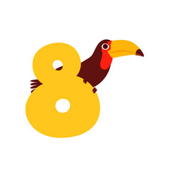 Funny cute toucan bird and number eight birthday vector