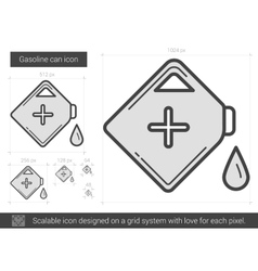 Gasoline can line icon vector