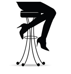 Girl silhouette sitting on bar stools vector