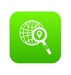 globe map pointer and magnifying glass vector image