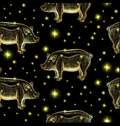 glowing night pigs seamless pattern with stars vector image