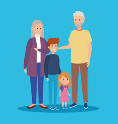 Grandparents together with happy grandson vector