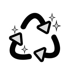 Grayscale recycle symbol to ecology planet care vector