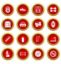 Gym icon red circle set vector