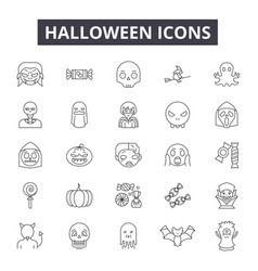 halloween line icons for web and mobile design vector image