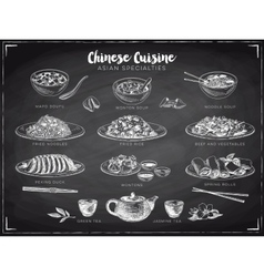 hand drawn with chinese food vector image