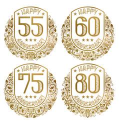 happy anniversary emblems set vintage golden vector image