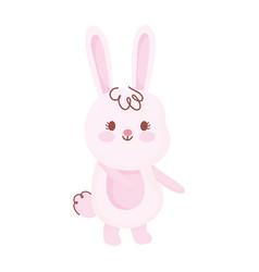 happy easter cute little rabbit cartoon season vector image