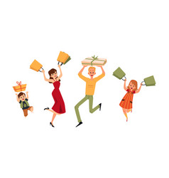 happy people jumping with shopping bags and gift vector image