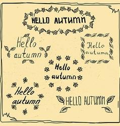 hello autumn badge sketch vector image